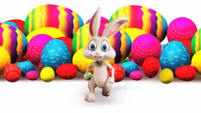 Easter Bunny running from eggs stock footage