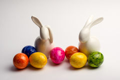 Easter bunny's. With colored eggs Stock Images