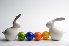 Easter bunny's. With colored eggs Stock Image