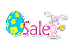 Easter Bunny with Sale Tag. Illustration of bunny holding easter egg and sale tag Stock Images