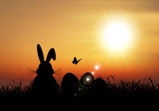 Easter bunny sat in grass against a sunset sky Stock Image
