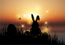 Easter bunny sat in grass against a sunset sky Royalty Free Stock Images