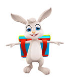 Easter Bunny with school bag Stock Images