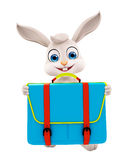 Easter bunny with School bag Royalty Free Stock Photography