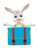 Easter bunny with School bag Royalty Free Stock Photo