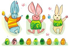 Easter Bunny set. Cute collection of easter rabbits and eggs Stock Illustration