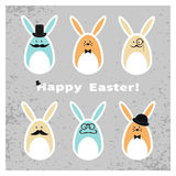 Easter bunny set. Collection of cute Easter rabbits. Stock Photo