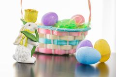 Easter Bunny and His Basket Stock Photography