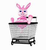 Easter Bunny with shopping trolley Royalty Free Stock Photography