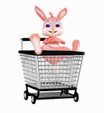 Easter Bunny with shopping trolley Stock Images