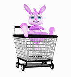 Easter Bunny with shopping trolley Stock Photos
