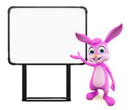Easter Bunny with sign board. 3D illustration of Easter bunny with sign board Royalty Free Stock Image