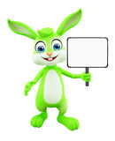 Easter Bunny with sign board. 3D illustration of Easter bunny with sign board Stock Photography