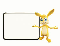 Easter Bunny with sign board. 3D illustration of Easter bunny with sign board Royalty Free Stock Photography