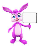 Easter Bunny with sign board. 3D illustration of Easter bunny with sign board Stock Photo