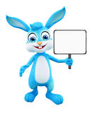 Easter Bunny with sign board. 3D illustration of Easter bunny with sign board Stock Photos