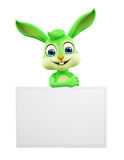 Easter Bunny with sign board. 3D illustration of Easter bunny with sign board Royalty Free Stock Images
