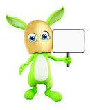 Easter Bunny with sign board. 3D illustration of Easter bunny with sign board Royalty Free Stock Photos