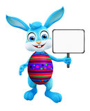 Easter Bunny with sign board. 3D illustration of Easter bunny with sign board Royalty Free Stock Photo