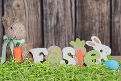 Easter bunny and sign. Easter bunny with a sign and crafting grass Royalty Free Stock Photo