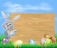Easter bunny and sign Stock Photography