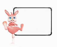 Easter Bunny with signboard Stock Images
