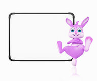 Easter Bunny with signboard Stock Photo