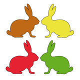 Easter Bunny silhouette card collection Royalty Free Stock Image