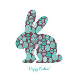 Easter bunny silhouette with egg pattern. Stock Photography