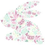 Symbol of Easter rabbit sign silhouette. Easter Bunny silhouette made of simbols of Easter like colored eggs, birds Stock Photos