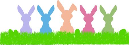 Easter bunny silhouettes and eggs, free copy space. Easter bunny silhouettes and eggs, cute illustration, free copy space royalty free illustration