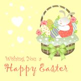 Easter Bunny Sitting in an Basket. Easter Bunny Sitting in an Easter Basket. Vector illustration Stock Image