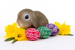 Easter bunny sitting in a bunch of Easter eggs Stock Image