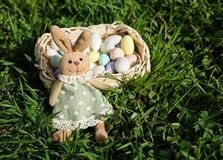 Easter bunny with small basket of Easter eggs royalty free stock photo