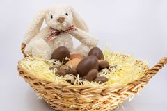Easter Bunny Soft Toy and Easter Eggs royalty free stock images