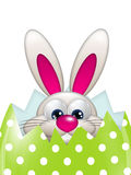 Easter bunny in spring egg with place for text Royalty Free Stock Photo