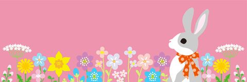 Easter bunny in the spring flower bed -pink color background, horizontal, copy space layout design.  vector illustration