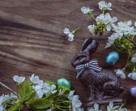 Easter bunny and spring flowers Stock Photo