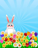 Easter Bunny with Spring Flowers Illustration Stock Photos
