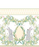 Easter bunny with spring flowers seamless pattern on white background. Cartoon baby rabbit illustration. Easter design. Easter design for textile, fabric decor stock illustration
