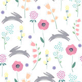 Easter bunny with spring flowers seamless pattern on white background. Stock Images