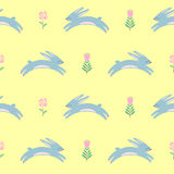 Easter bunny with spring flowers seamless pattern on yellow background. royalty free illustration