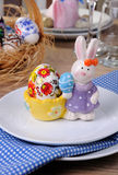 Easter Bunny stand with my drawing egg Royalty Free Stock Photography