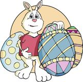 Easter Bunny Standing with Decorated Eggs royalty free illustration