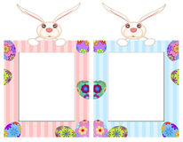 Easter Bunny with Striped Picture Frame Royalty Free Stock Photos