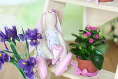 Easter bunny stuffed toy. Cute plush rabbit Royalty Free Stock Images