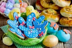 Easter bunny sugar cookies stock image
