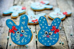 Easter bunny sugar cookies stock images
