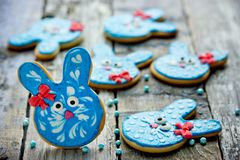 Easter bunny sugar cookies royalty free stock image