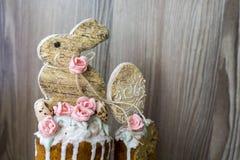 Easter bunny, sugar roses and sugar quail eggs Stock Photo